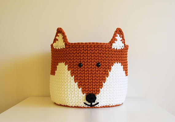 Toy basket fox Crochet basket fox Crochet fox Storage basket