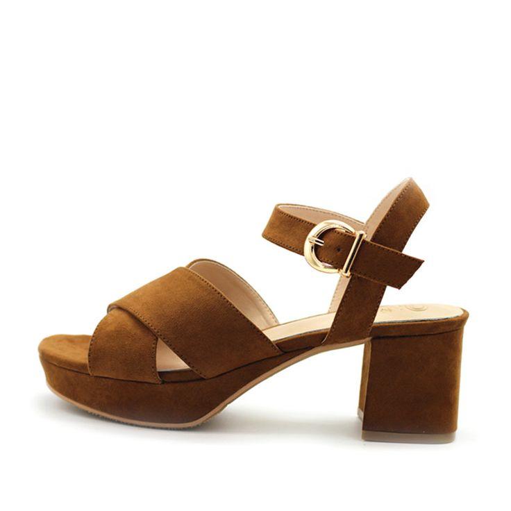 Summer Sandals Women Medium Heel Shoes 6CM Heels Platform Sandals Women Fashion Peep Toe Ladies Shoes Leather Sandals B-0170