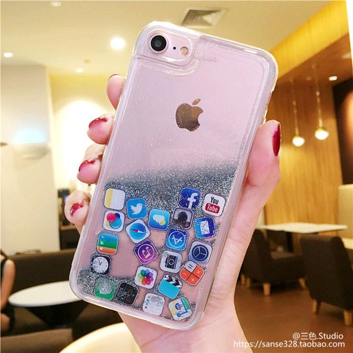 Apple Cellphone Case Plus Distinctive Acrylic Iphone Ios Liquid Iphonex /8/7 Protecting Cowl Couple Artistic Girls