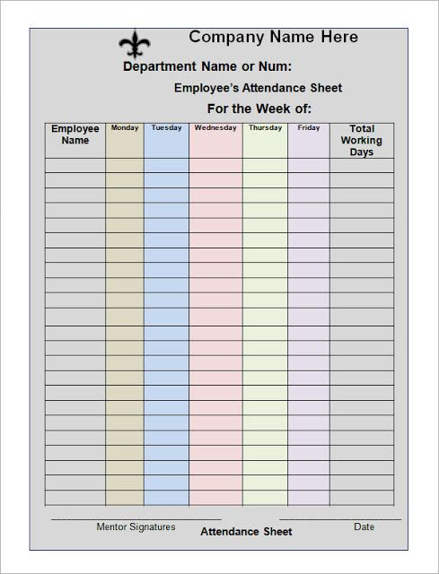 10 best printable calendar images on Pinterest Printable - attendance chart template