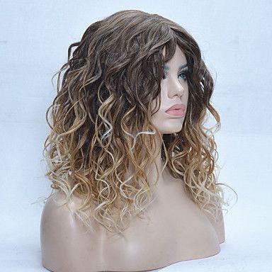 ombre dois tons morango perucas loiras das mulheres de 24 polegadas peruca longa reta de 5627561 2017 por R$53,67