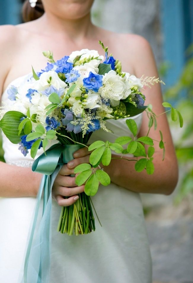 Rustic blue and green wedding bouquet. See more at Sweet Violet Bride - http://sweetvioletbride.com/2013/07/rustic-barn-wedding-stonover-farm-orchard-cove-photography/