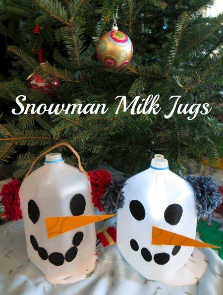 Snowman milk jug craft milk jug crafts snowmen and for Christmas crafts with milk jugs