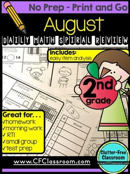 FREE 2 Weeks {10 Student Pages} of Second (2nd) Grade Homework, Morning Work, Spiral Review, etcAre you looking for easy-to-correct printable pages to use at the start of the school year or when you have a substitute/guest teacher to review important math skills?