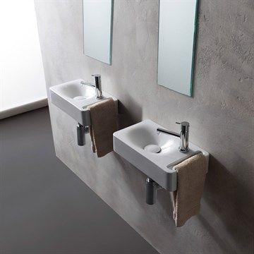 Appeso lille håndvask i flot Italiensk design, med håndklædestang