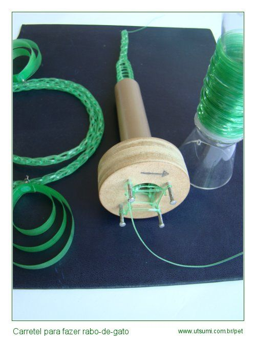 U T S U M I - Crafts with PET plastic. Spool knitting machine making cord rope with plastic.