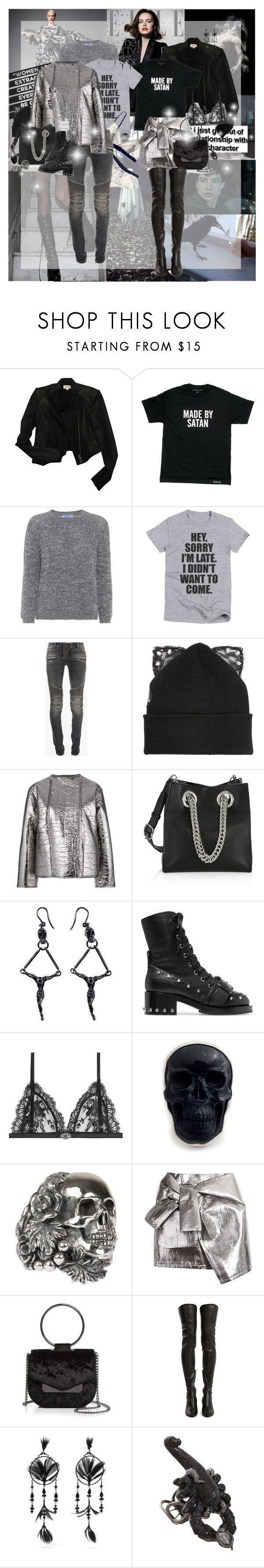 """""""Shades of Grey: Love the Color. Hate the Movie"""" by lady-redrise ❤ liked on Polyvore featuring Helmut Lang, Prada, Balmain, Silver Spoon Attire, Nehera, Alexander Wang, Delfina Delettrez, N°21, Alexander McQueen and Ugo Cacciatori"""