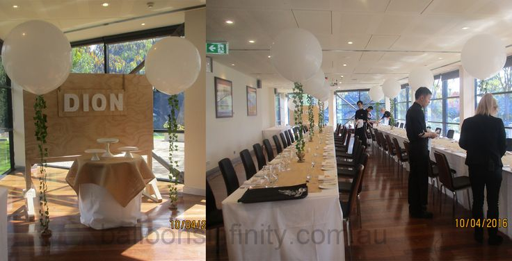 Large white latex balloons with vine line and hessian covered weights. #heliumballoons #large3footballoons #largepartyballoons #weddingballoons