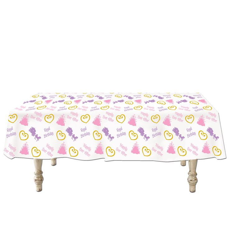Princess Tablecloth (Plastic).  Decorate your party table with this awesome Happily Ever After Royal Princess themed tablecloth while keeping your tabletop nice and clean! Add even more colour to your party area by covering surrounding tables with solid colour tablecovers that coordinate with your party theme. Measures 1.37 m x  2.74 m.; Price is per tablecloth
