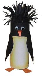 A cool winter craft.  Looking for a fun winter craft to keep cabin fever at bay? Have fun and recycle when you make this cool toilet paper tube penguin. Thanks FreeKidCrafts.com for the idea.  What You'll Need:  • Toilet paper tube  • Black and white construction paper  • Orange construction paper  • Scissors  • Glue  • 2 Wiggly eyes    What You'll Need to Do:  1. Cover the toilet paper tube...