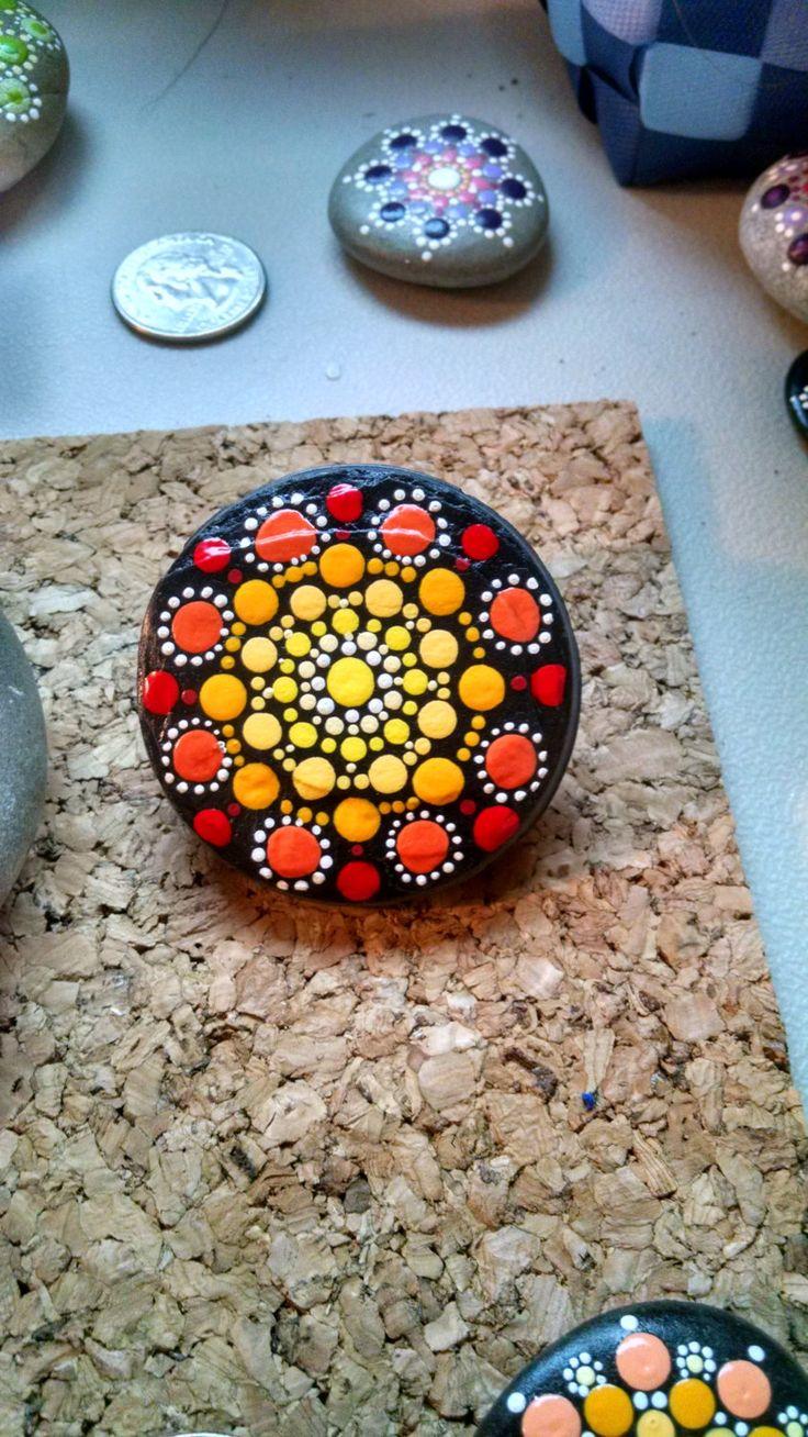 Slate Stone Magnetic Clip~ Hand Painted by Miranda Pitrone~ Dot Art~Dotillism~ Painted Stones by P4MirandaPitrone on Etsy