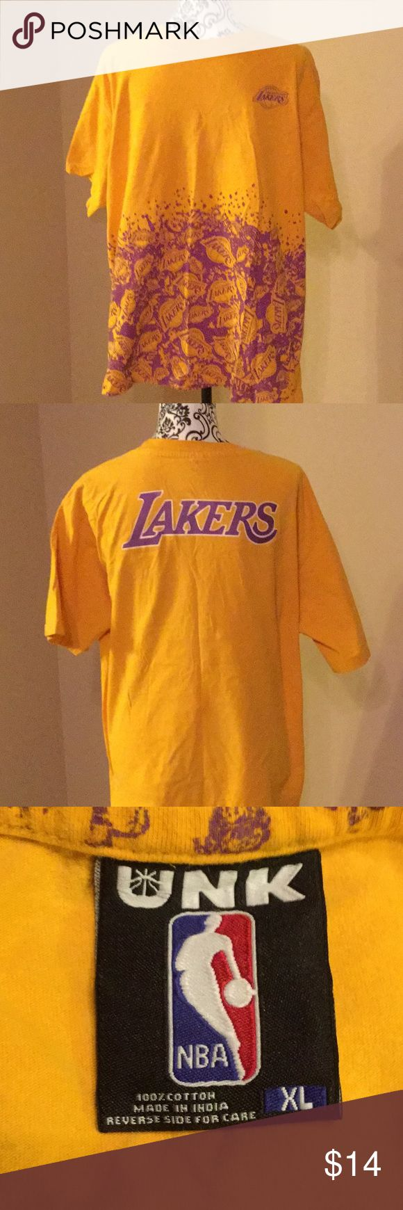 NBA LAKERS Gold t Shirt XL. Brand UNK Gold Lakers t shirt size XL measures 24 inches from armpit to armpit and 30 inches long UNK Shirts Tees - Short Sleeve
