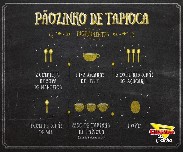 Receita fácil de pãozinho de tapioca 1. Bata no liquidificador manteiga, leite, açúcar, sal e ovo.  2. Despeje sobre a farinha de tapioca. 3. Misture bem, espere uns 20 minutos para hidratar os grânulos.  4. Retire porções com uma colher de sopa cheia molde-as em cilindros  5. Coloque-as na assadeira untada e polvilhada com polvilho doce  Leve para assar em forno bem quente (200 °C) por cerca de meia hora.