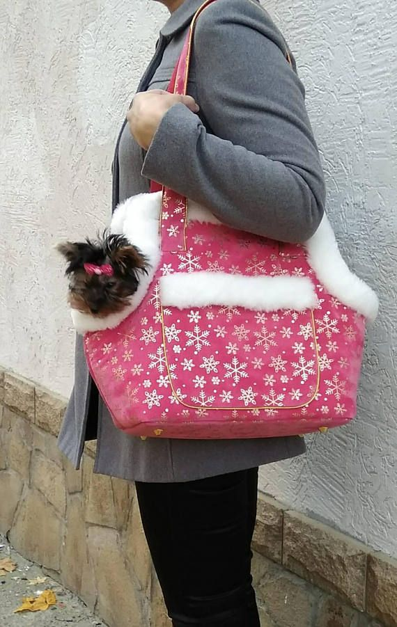Dog carrier Dog bag Pet Carrier Small dog carrier Dog tote- for the cold Maine Christmas visit
