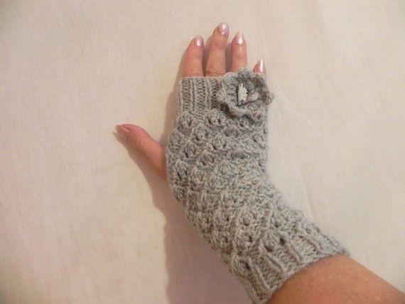 mitaine et fait main | mitaines tricot fait main fleur au crochet coeur fimo : Mitaines ...