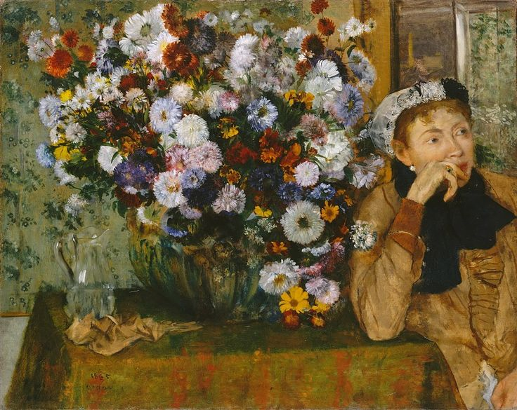 Эдгар Дега - Женщина, сидящая рядом с вазой с цветами.1865; Масло на холсте;  Музей Метрополитен