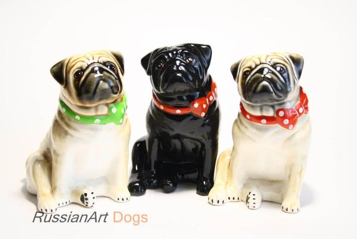 Pug dog ceramic figurine handmade statue by RussianArtDogs on Etsy