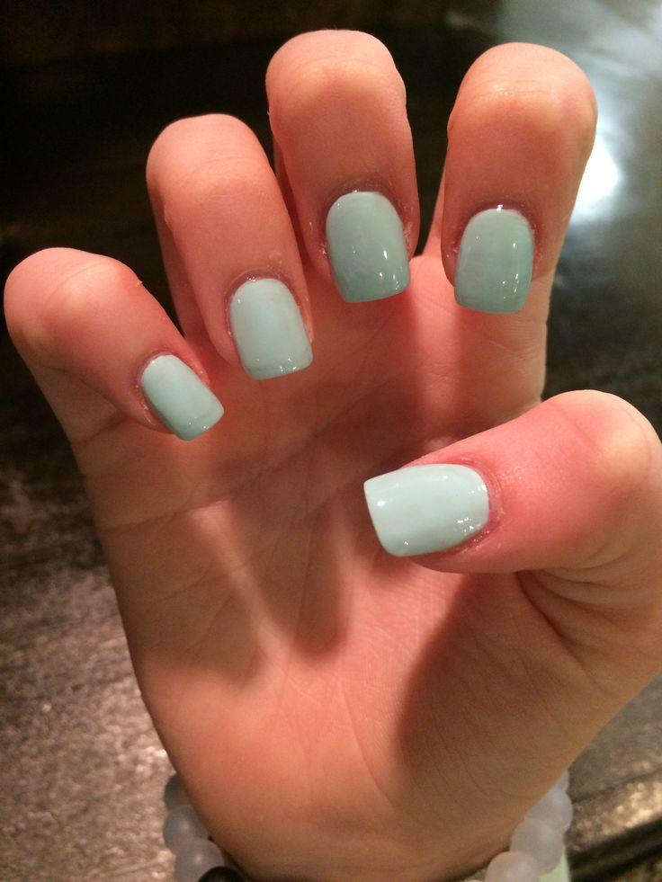 Short, light blue acrylic nails:)