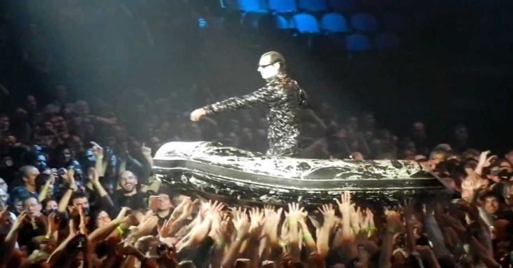 Rammstein Keyboard Player Crowd Surfs in Inflatable Boat