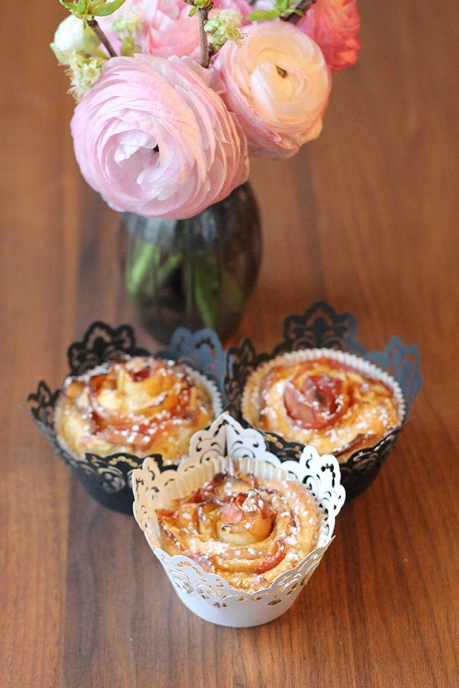 Apfelmuffins mit Rosendesign