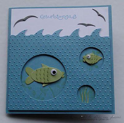 Handmade Card: Birthday. Cut out circles. Fish.