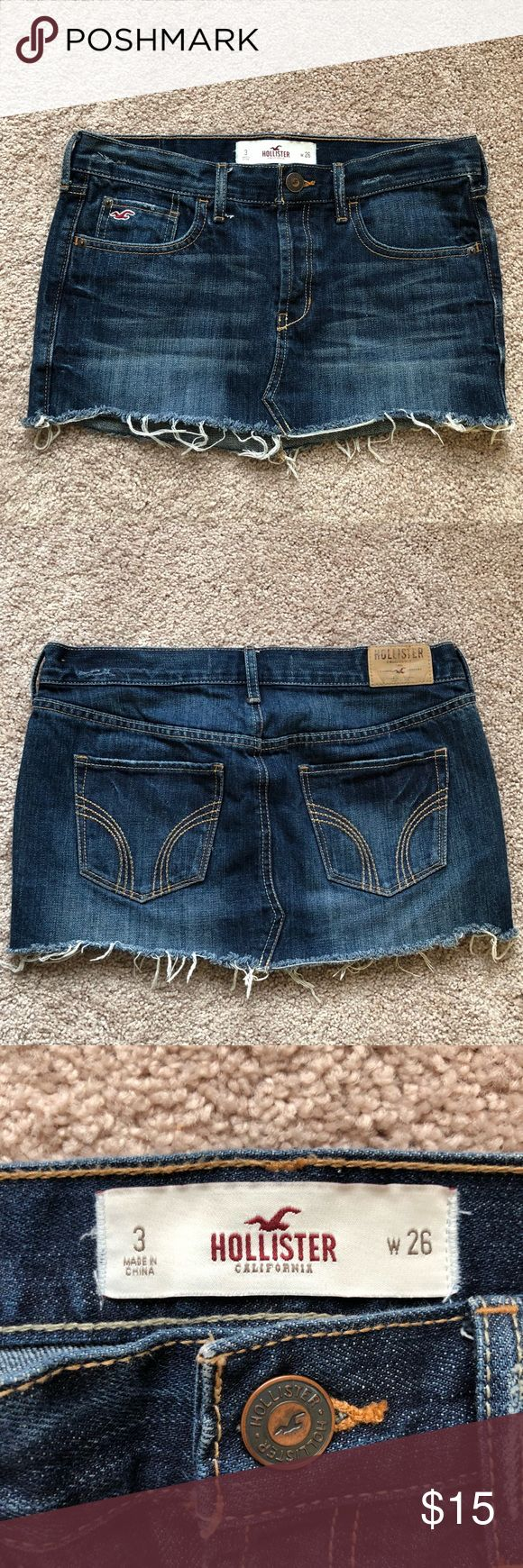 Hollister Denim Mini Skirt! 💙 This denim mini skirt from Hollister is company distressed and a dark wash. The skirt is approx. 11 inches in length and 15 1/2 inches at the waist while laying flat (pictures provided). Skirt is a size 3 and in excellent condition! Feel free to make an offer or bundle for a discount! ❤️ Hollister Skirts Mini