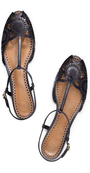 T strap flats  | tory burch.  I know I'm not supposed to like Tory Burch, but I'm guilty of liking these shoes.  I like lacy cutouts and T-straps.