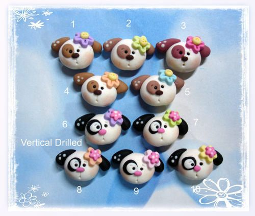 SALE Cute Puppy Dog Polymer Clay Charm Bead Scrapbooking Embelishment Bow Center Pendant Cupcake Topper via Etsy