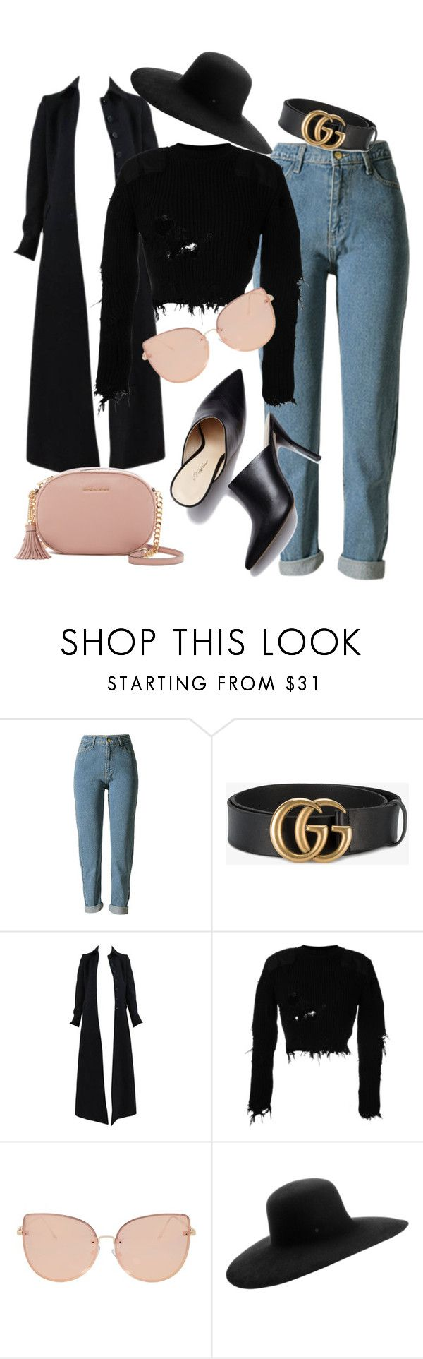 """""""Black and rose"""" by ilctorresflores on Polyvore featuring moda, WithChic, Gucci, Alaïa, Yeezy by Kanye West, Topshop, Maison Michel, MICHAEL Michael Kors, blackandrose y heeledmules"""