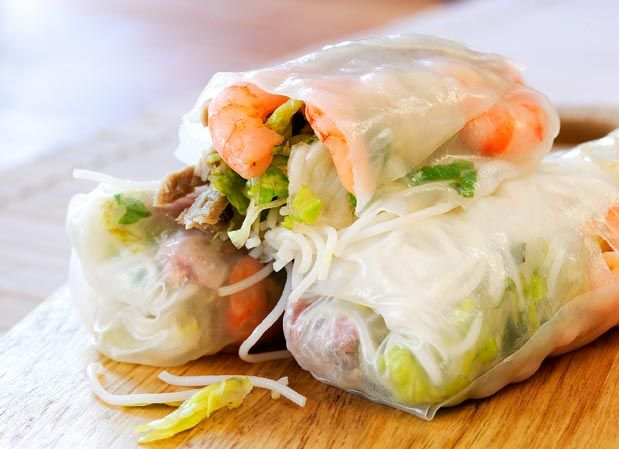 Vietnam: Nem Nuong Cuon. Grilled pork sausage wrapped in rice paper with lettuce, cucumber, carrot, daikon and mint served with a (usually secret) special sauce. Its cousin, chao tom cuon, utilizes the same basic ingredients but with shrimp instead of pork.