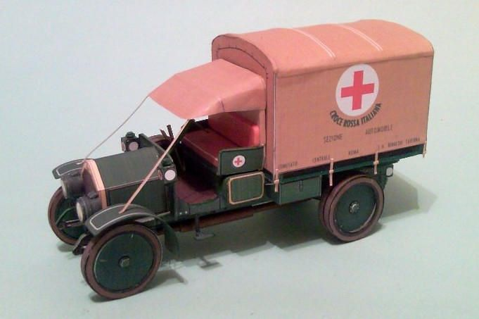 WWI Fiat 15 Light Military Truck Free Vehicle Paper Model Download…