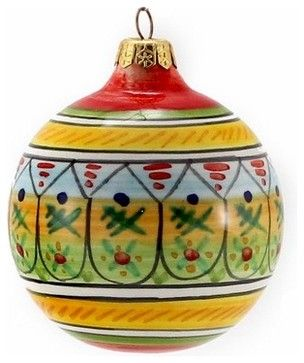 Christmas Ornament: Round Ball - Hand Painted Deruta Large mediterranean-christmas-ornaments