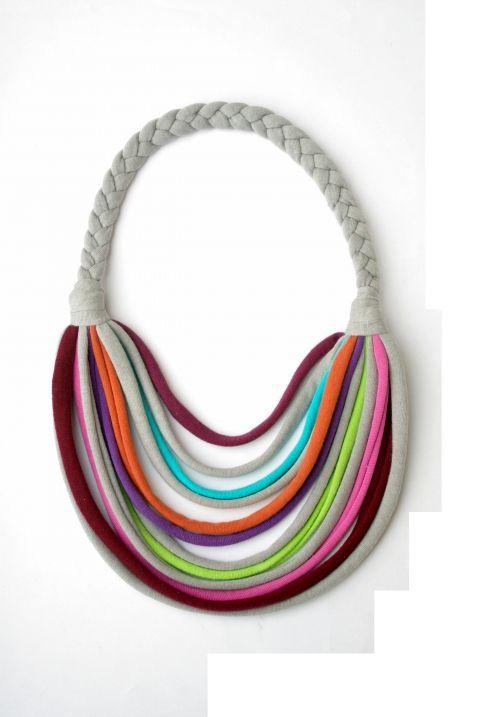 Szürke/színes  textil, sokszálas BASIC nyaklánc, Ékszer, óra, Nyaklánc, Meska