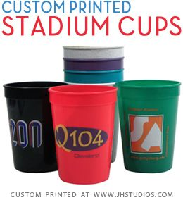 Custom printed stadium cups are a great marketing item for both indoor and outdoor events from trade shows to holiday gatherings and fundraising events and are a great marketing tool regardless of your industry or cause.