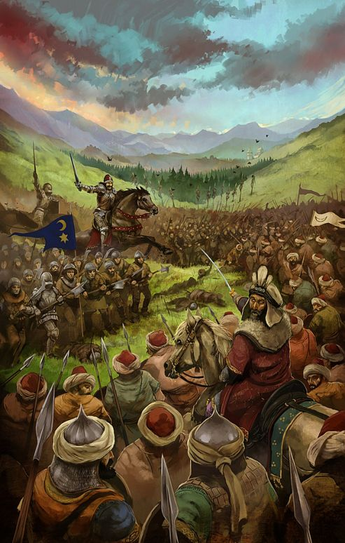 """Ottoman Army led by Sultan Mehmed II """"the Conqueror"""" vs. Wallachian (Romanian) troops led by the feared Voivod Vlad """"the Impaler"""", also known as Dracula (in fact, the Turkish called him """"Dracula Oglu"""" - """"Son of the Dragon/ Devil"""")"""