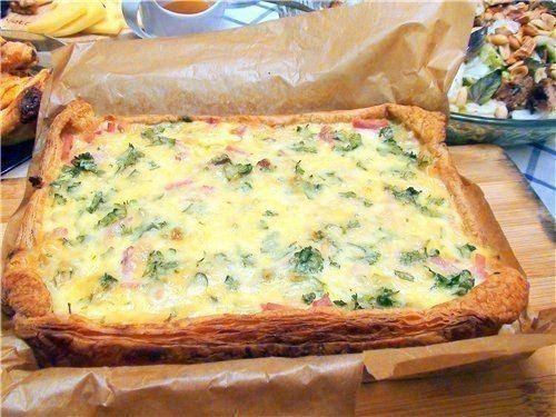 Луковый пирог с ветчиной и сыром