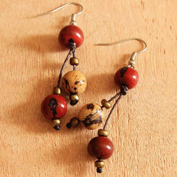Red Dangle Earrings  Acai Seed Jewelry  Fair by ArtisansintheAndes