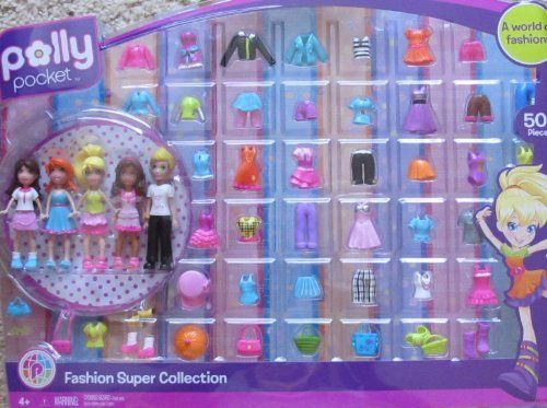 """Polly Pocket FASHION SUPER COLLECTION 50+ Pieces w 5 DOLLS (2009) by Mattel. $79.99. Polly Pocket Fashion Super Collection 50+ Pieces is a 2009 Mattel production. For Ages 4+ Years. CAUTION: Small Parts Included.. INCLUDES: 5 """"Polly"""" Dolls each approx. 3-3/4"""" tall (Polly, Lea, Rick, & Assorted Fashions & Accessories. Polly Pocket Fashion Super Collection 50+ Pieces is a 2009 Mattel production. INCLUDES: 5 """"Polly"""" Dolls each approx. 3-3/4"""" tall (Polly, Lea, Rick, & Assorted..."""