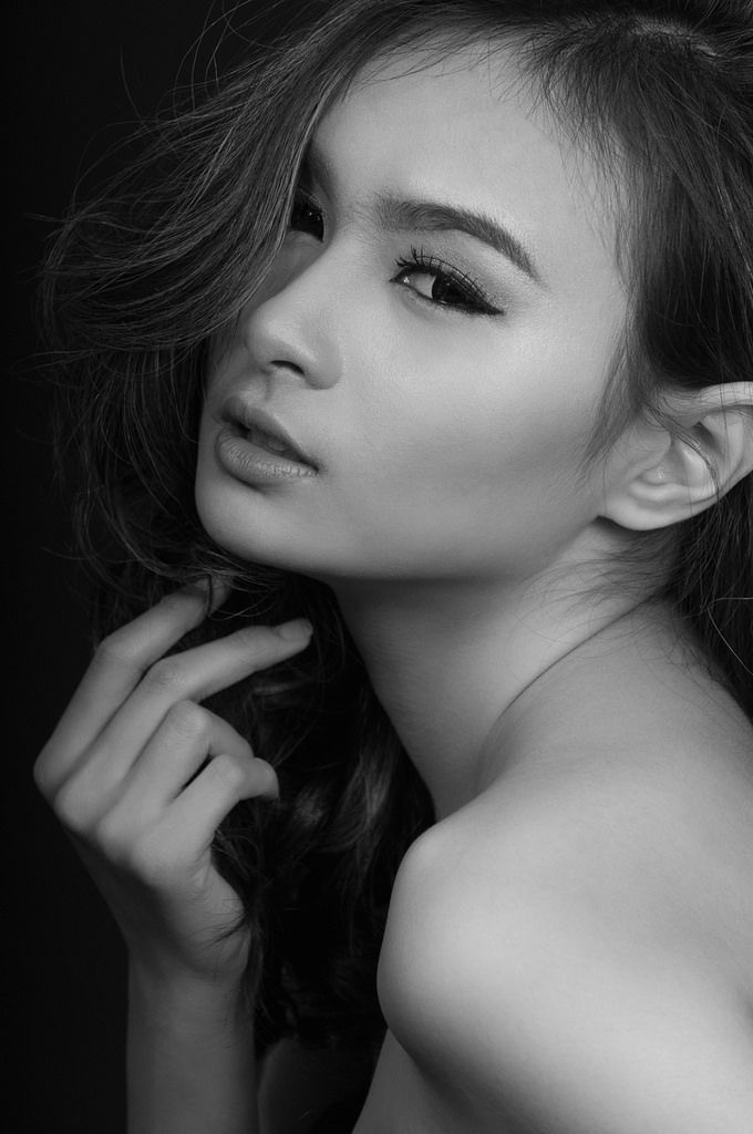 beauty black and white portrait