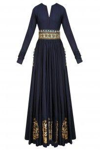 Navy Blue Zardozi Motifs Floor Length Anarkali with Embroidered Waistbelt
