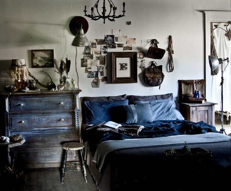 Blue & wood bedroom, worn patina, tableau; by Mr and Mrs Charlie finding beauty in the old, the odd, the found, the discarded. pinned through 'desire to inspire'
