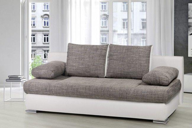 Stylisches Design Schlafsofa ORLANDO grau-weiß Strukturstoff Federkern mit Bettkasten  --   Riess-Ambiente.de