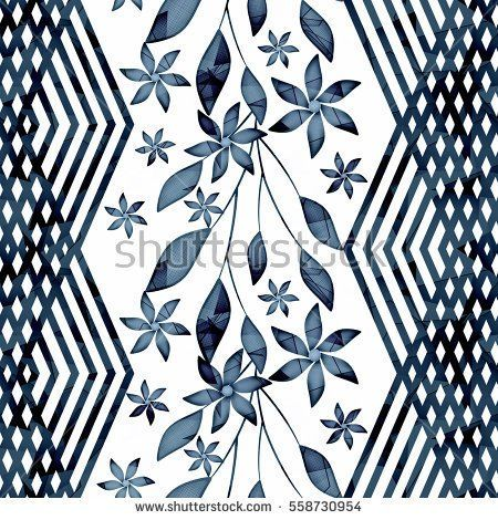 Seamless floral pattern,grey twigs , flowers on a white background ,black vertical decorative strip.
