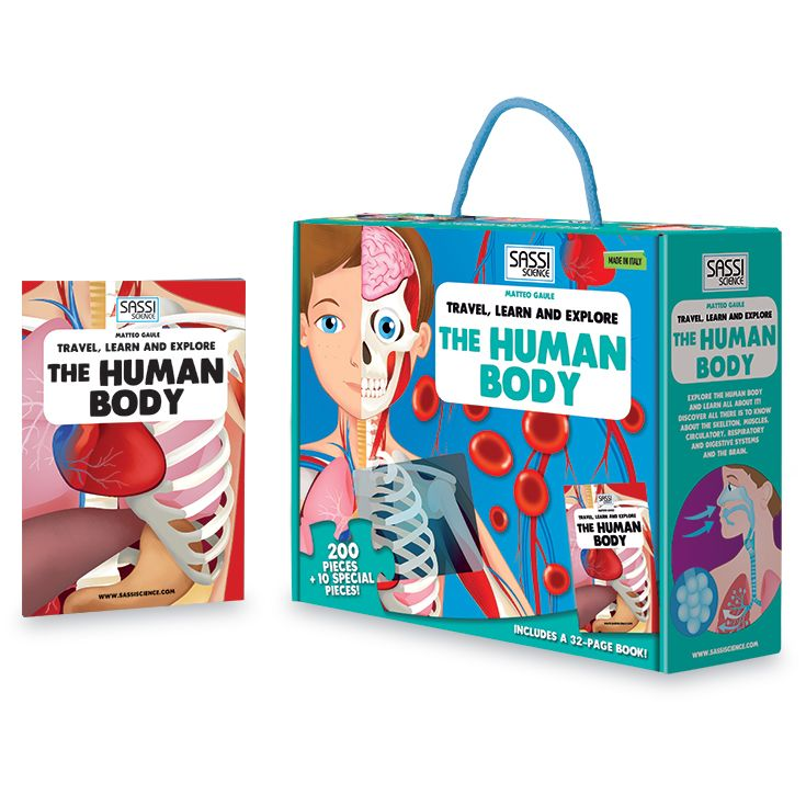 #Sassi Science: Travel, learn and explore - The Human Body. A 200-pieces puzzle with a 32-pages book. #eco #friendly #book #game