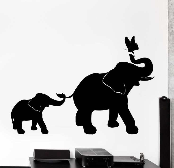 wall vinyl decal elephant family kids children butterfly on wall decals id=47131