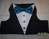 TUXEDO Dog Harness Velcro Black with Turquoise Bow Tie - LARGE