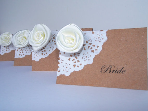 Wedding Place Card / Escort Cards - Vintage Lace and rose on recycled Kraft card. £1.00, via Etsy.
