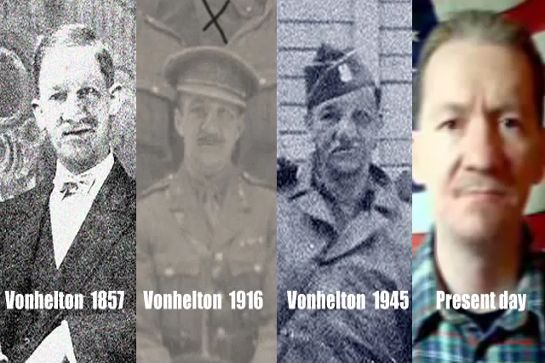 VonHelton has provided proof of his time travel prowess by lining up side-by-side photographs of himself starting in a studio in 1857 England, with stops in 1916 France, 1945 Berlin, and ending in the modern day in front of an American flag. Is he, in fact, a time traveler?