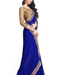 Buy Blue Lace Work Georgette saree with blouse party-wear-saree online