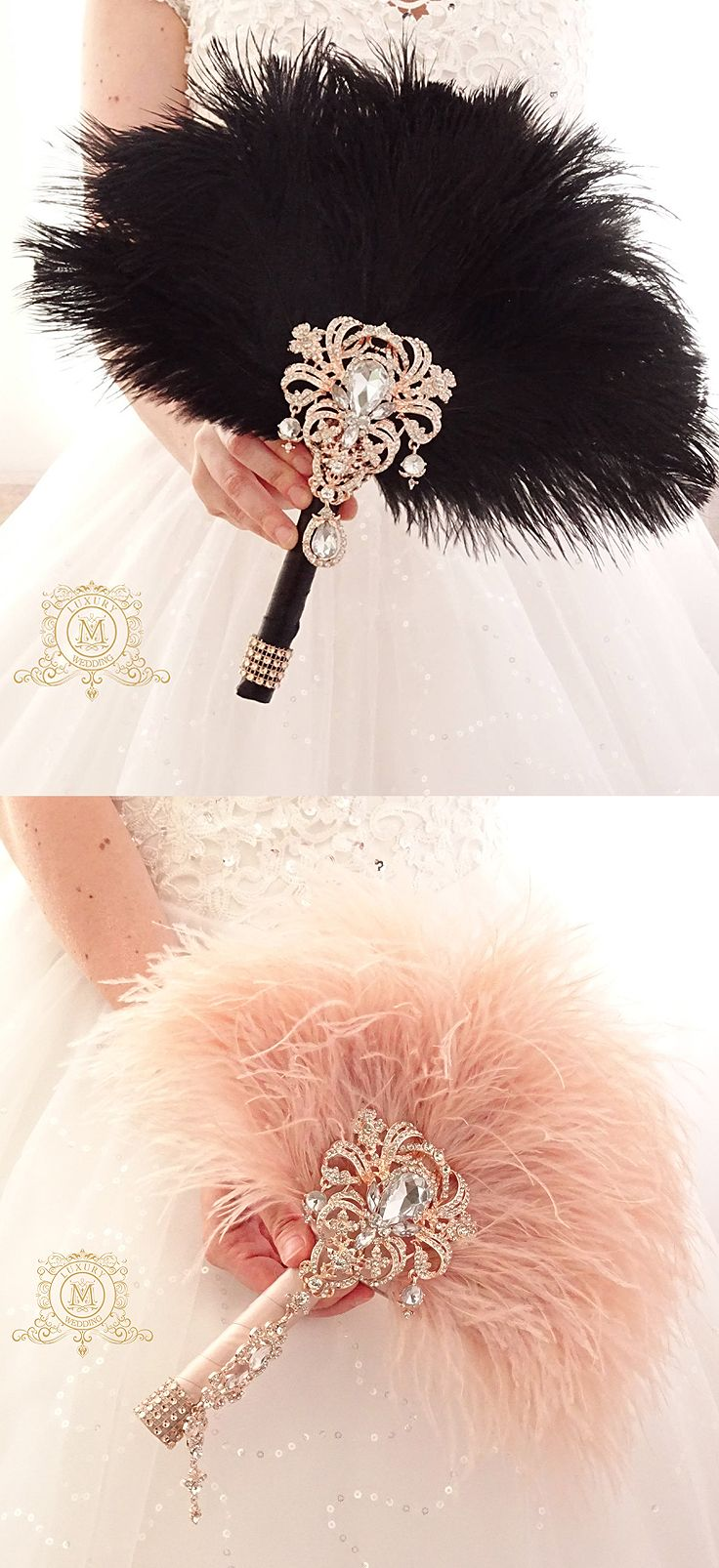Bridal alternative Ostrich Feather Fan Bouquet Great Gatsby 1920s Art deco boho wedding. Lots designs and colours available. Downton Abbey Roaring 20s Party theme. Birthday, Weddings, Christmas Party ideas. Boutonniere for men available. #weddings #gatsby #roaring20s #gatsbyparty #affiliatelink #featherfan #bouquet #etsyfinds #vintagetheme